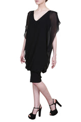 Bias cut georgette black dress