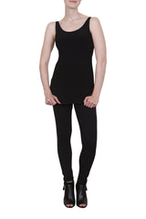 Long length black stretch singlet