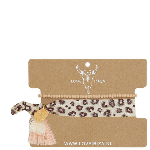 Leopard & Beige Bead Hair Tie & Wrist Band
