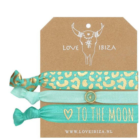 To The Moon & Turq Bead Hair Tie & Wrist Band