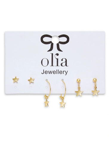 Olia Set of Three Star Earrings - Gold