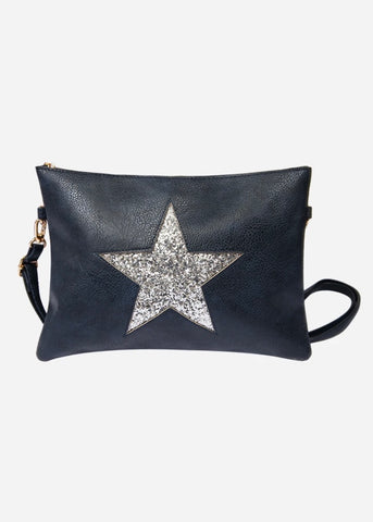 Navy/Silver Star Clutch Bag