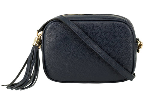Navy Tassel Leather Cross Body Bag