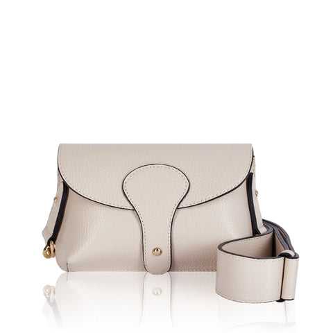 Cream Mini Leather Cross Body Bag