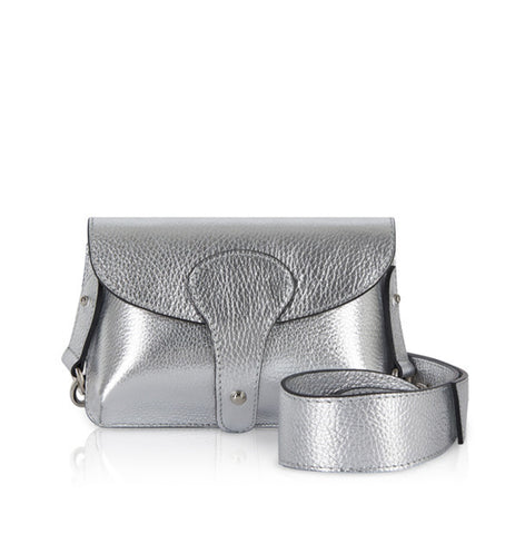Silver Mini Leather Cross Body Bag