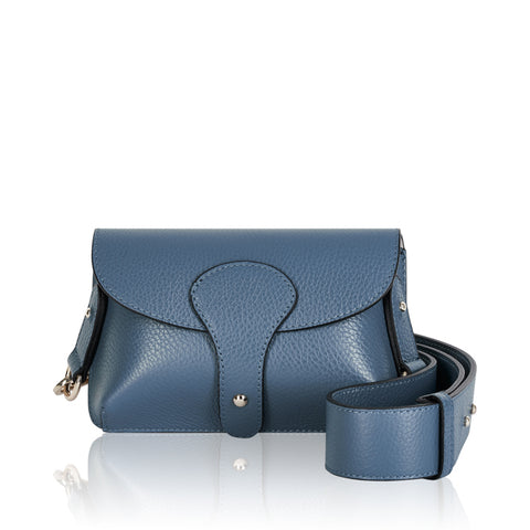 Denim Blue Mini Leather Cross Body Bag