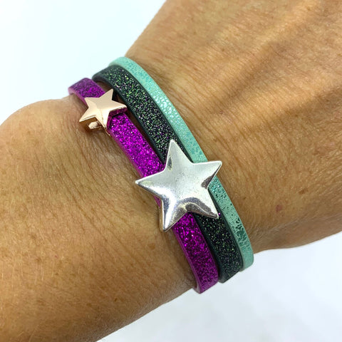 Purple/Charcoal Sparkle Star Cuff