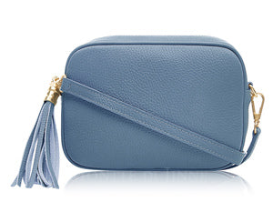 Denim Blue Tassel Leather Cross Body Bag