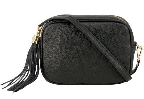 Black Tassel Leather Cross Body Bag