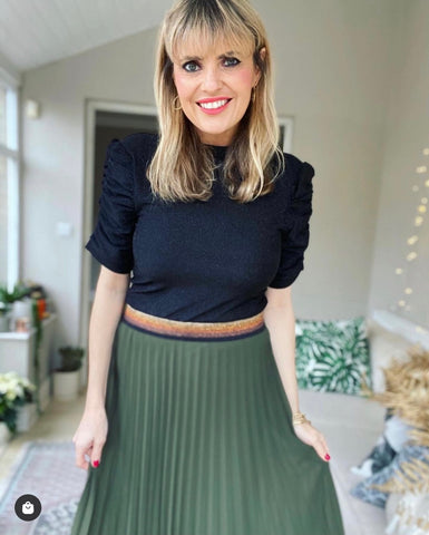Dark Khaki Pleated Maxi Skirt