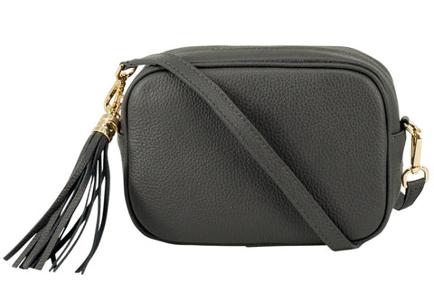 Dark Grey Tassel Leather Cross Body Bag