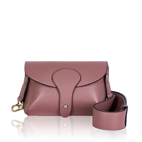 Dusky Pink Mini Leather Cross Body Bag