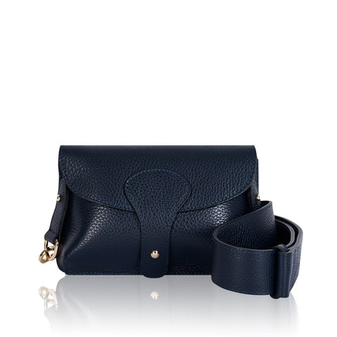 Navy Mini Leather Cross Body Bag