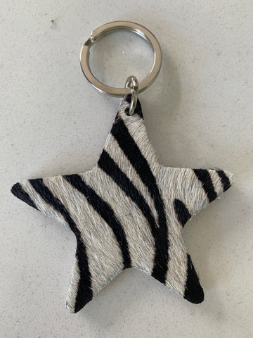 Zebra Leather Keyring