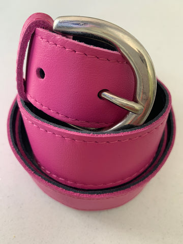 Pink Handmade Leather Belt