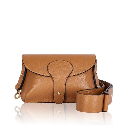 Tan Mini Leather Cross Body Bag