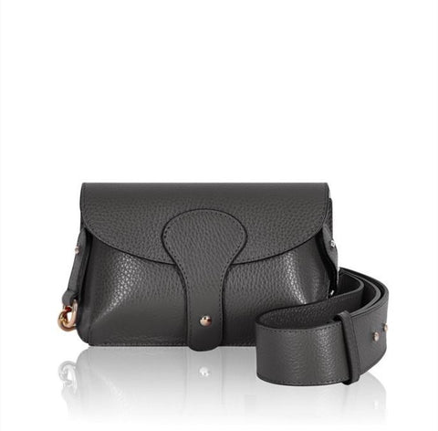 Dark Grey Mini Leather Cross Body Bag