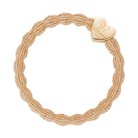 Metallic Gold Heart Elastic Hair or Wrist Band