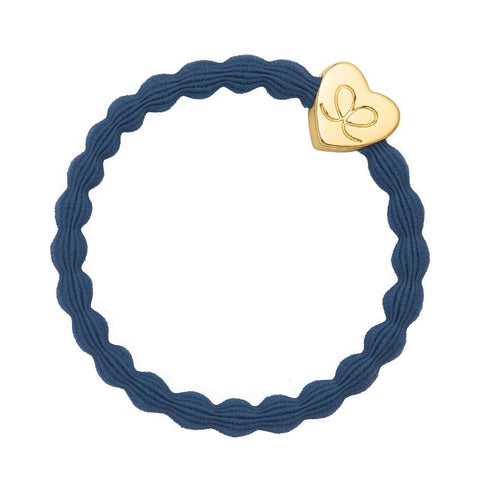 Gold Heart Dove Blue Elastic Hair or Wrist Band