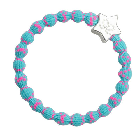 Silver Star, Pink on Blue Elastic Hair or Wrist Band