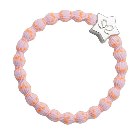 Silver Star, Orange on Pink Elastic Hair or Wrist Band