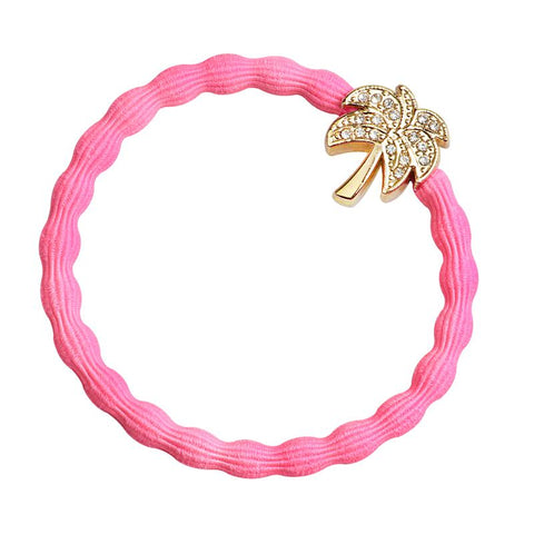 Palm Tree, Neon Pink Elastic Hair or Wrist Band