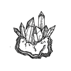 Drawing of crystal cluster