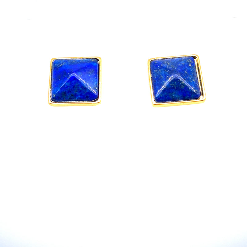 Lapis Lazuli Square Earrings in Yellow