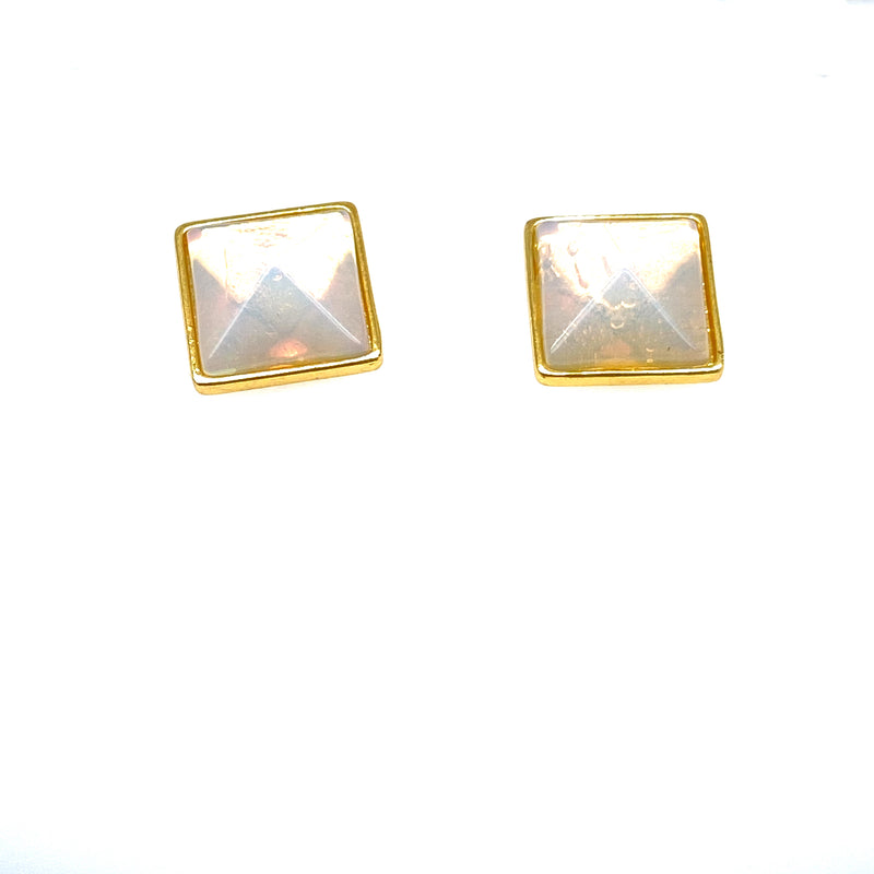 Opalite Square Earrings in Yellow