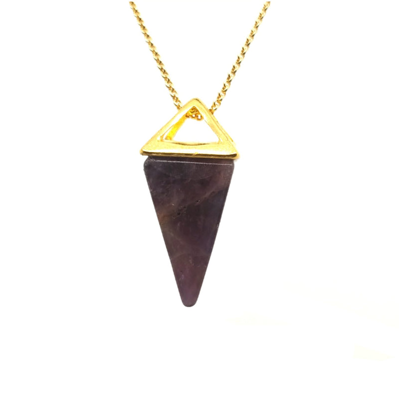 Amethyst Pyramid Necklace in Yellow