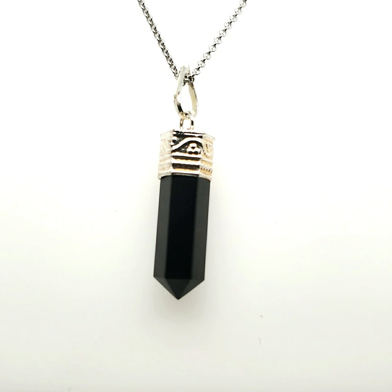 Obsidian Generator Necklace in Silver