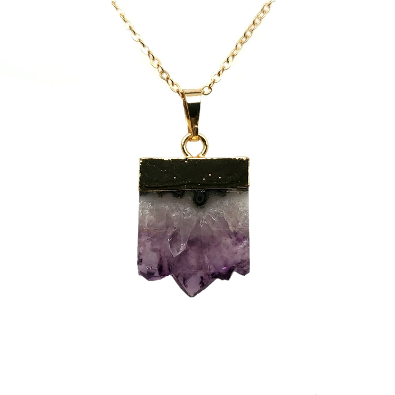 Amethyst Druzy Necklace in Yellow