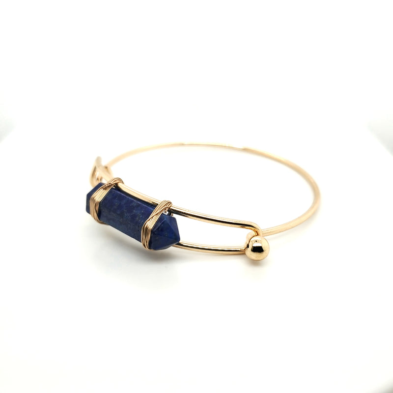 Lapis Lazuli Bangle with Bullet Pendant in Brass