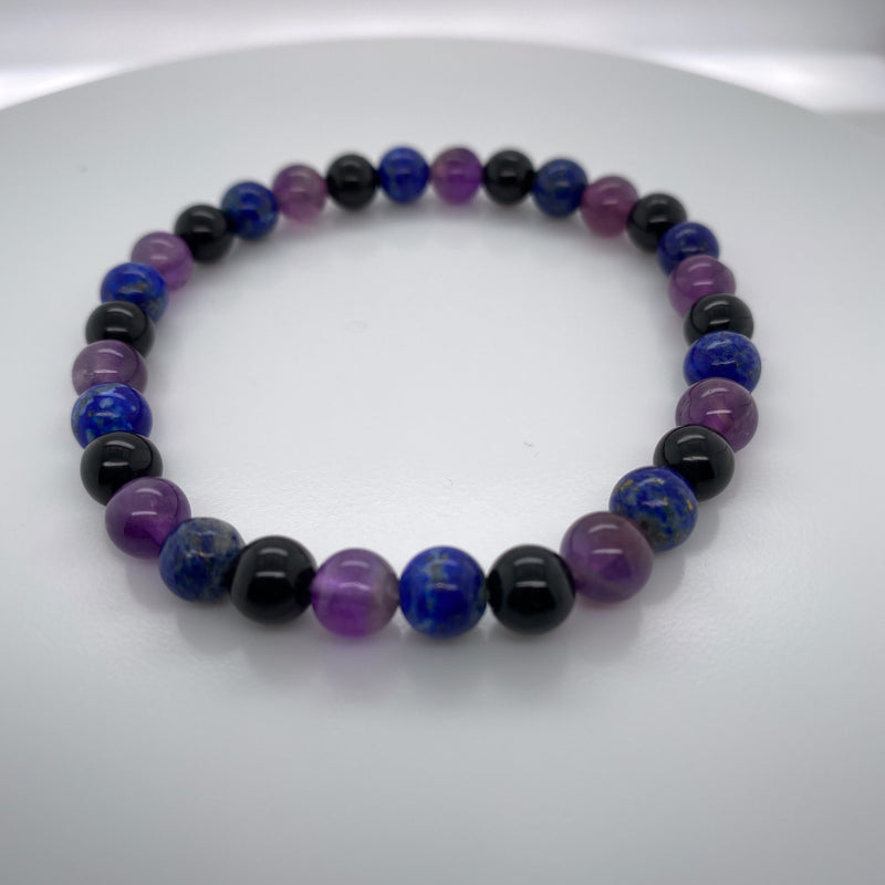 Black Tourmaline, Amethyst, and Lapis Lazuli Stretch Bracelet 6mm