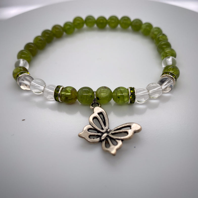 Peridot And Clear Quartz Crystal Stretch Bracelet 6-8mm