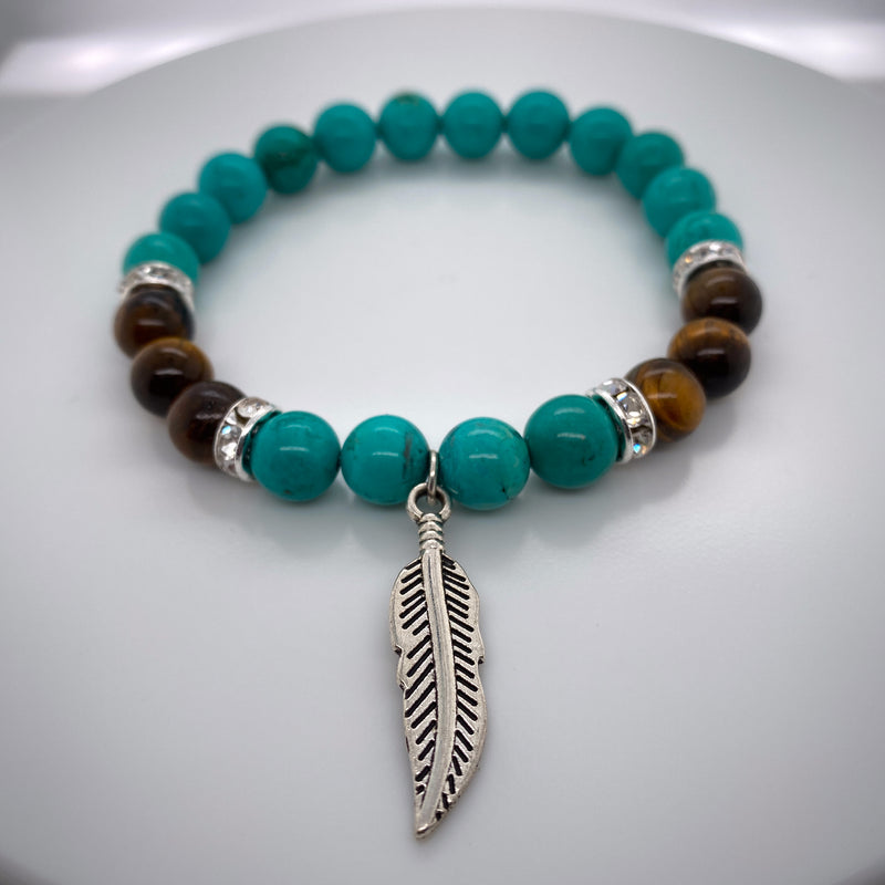 Turquoise And  Yellow Tiger Eye Stretch Bracelet 8mm