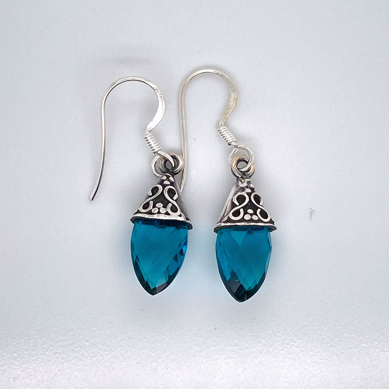 Blue Topaz Faceted Drop Earring