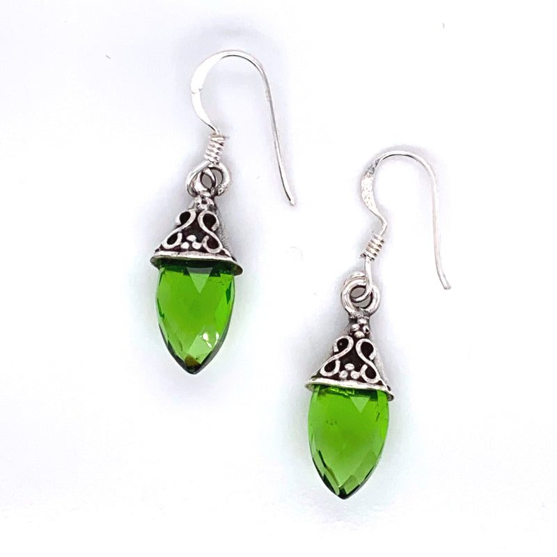Peridot Faceted Drop Earring