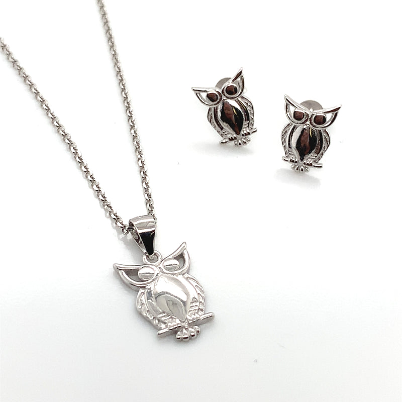 Sterling Silver Owl Necklace & Earring Set