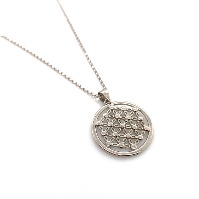 Sterling Silver Flower of Life Necklace 18""