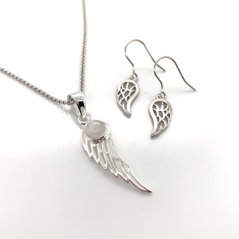 Sterling Silver Rainbow Moonstone Angel Wing Necklace & Earring Set