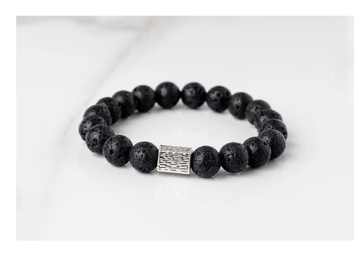Gemlet Mens Silver Plated Gemlet Lava Stone Diffuser Aromatherapy Bracelet Medium