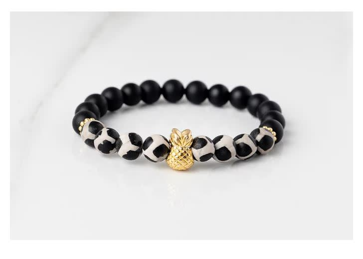 Gemlet 24K Gold Plated Pineapple Spotted Oxyx & Onyx Ultimate Protection Bracelet Medium