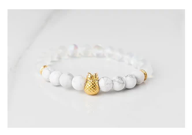 Gemlet 24K Gold Plated Pineapple Howlite & Mystic Aura Quartz Memory & Focus Bracelet Medium