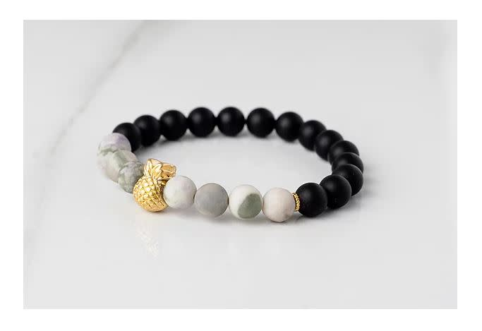 Gemlet 24K Gold Plated Pineapple Jade & Onyx Success & Protection Bracelet Medium