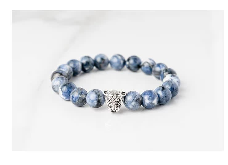 Gemlet Mens Silver Plated Tiger Sodalite Communication & Harmony Bracelet Medium
