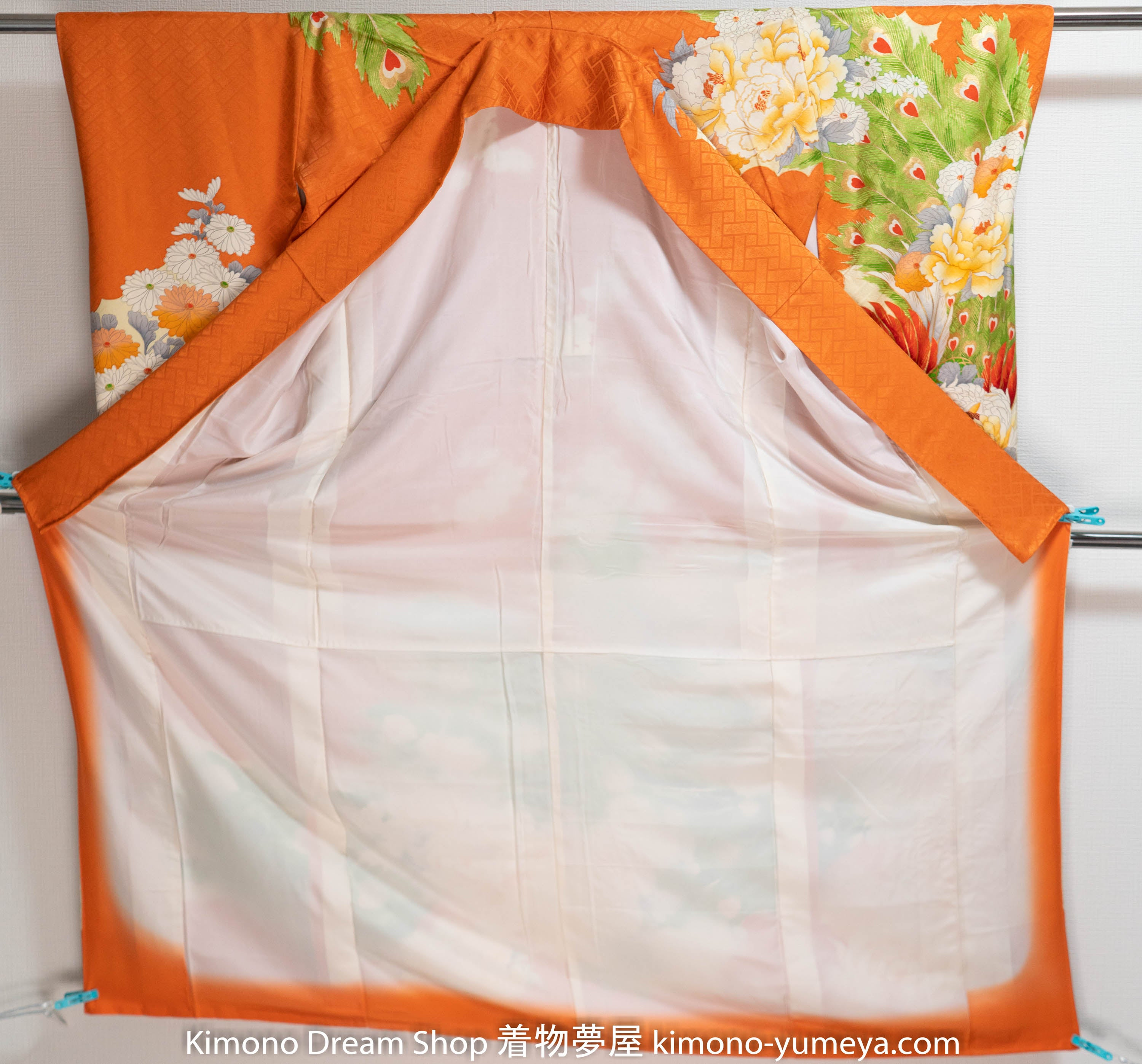 Orange Peacock Cherry Blossoms Springtime Silk Furisode Japanese Wedding Kimono - Gold Bird Animal