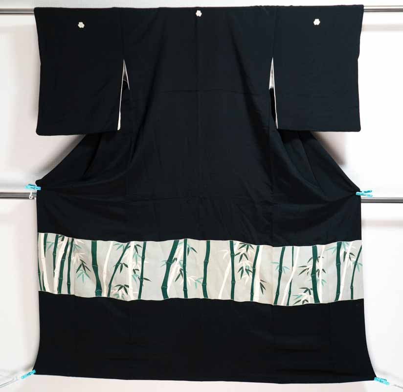 Black Bamboo Forest Tomesode - Genuine Silk Formal Japanese Woman's Robe - Unique All Around Pattern