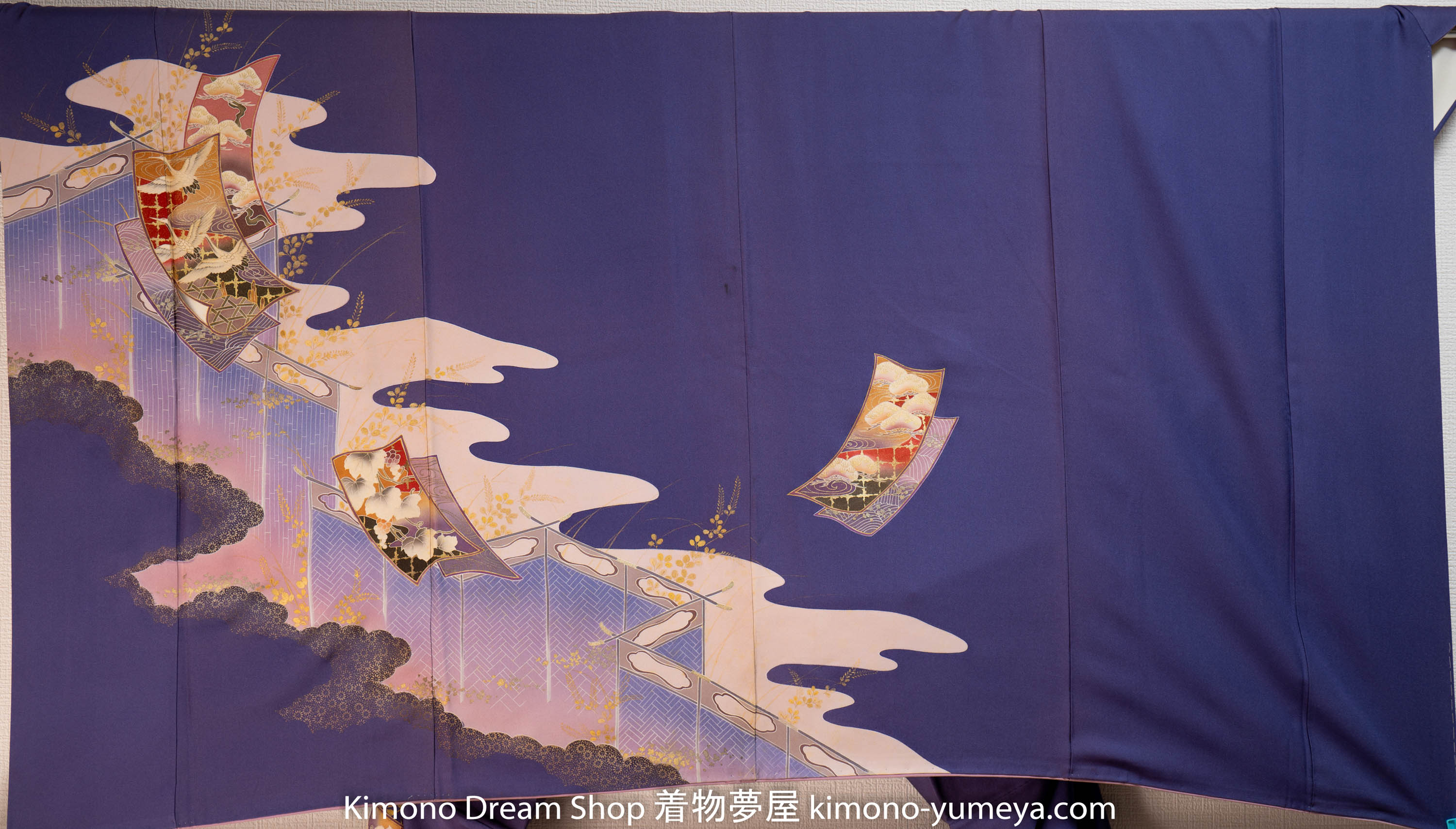 Purple Homongi - Unique Style - Vintage Silk Kimono - Japanese Herons Traditional Patterns Clouds