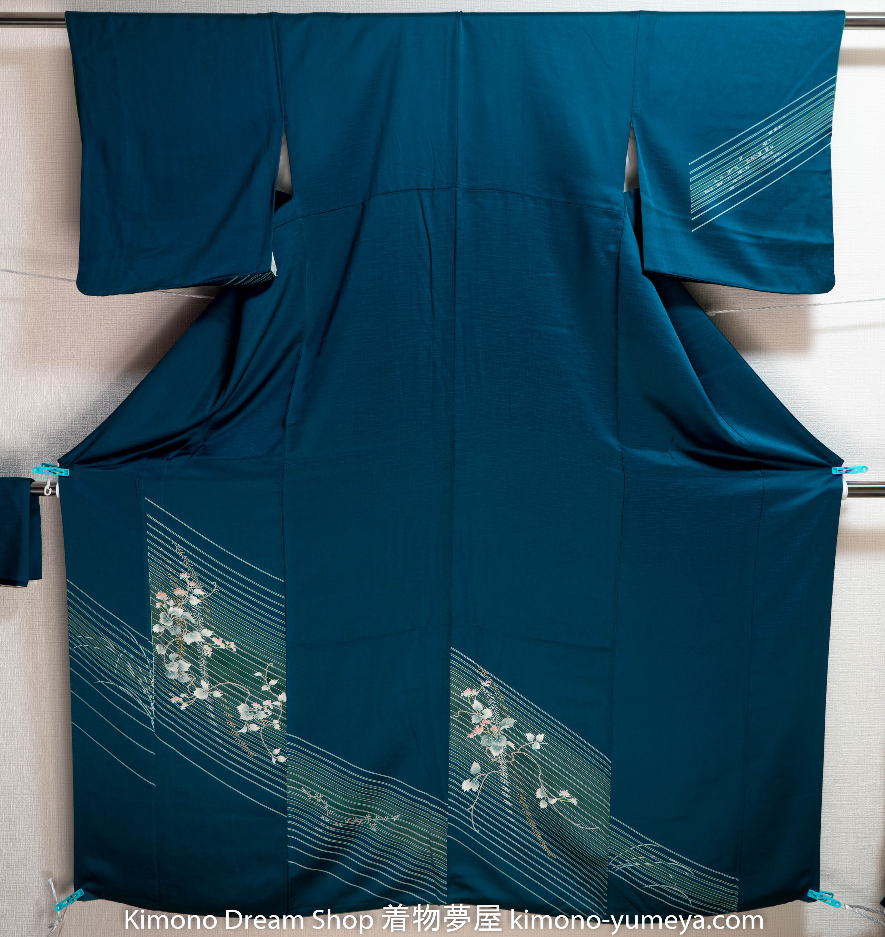 Teal Super Shiny Vintage Houmongi – Lined Pattern – ScotchGard High Quality Japanese Chirimen Silk